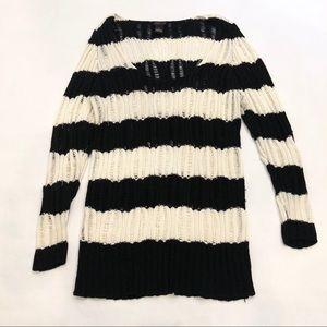 TORRID   Black & White Striped Crochet Sweater 2X